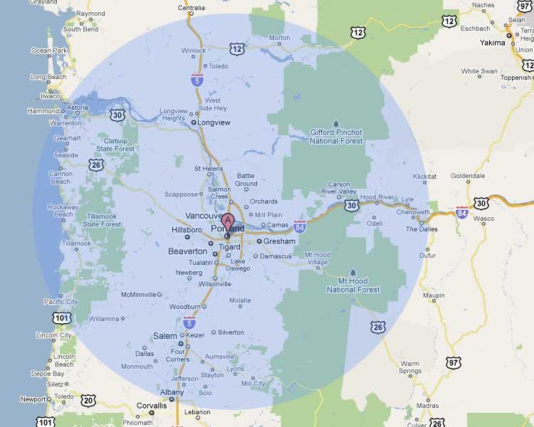 Map of the Portland Oregon Metro Area